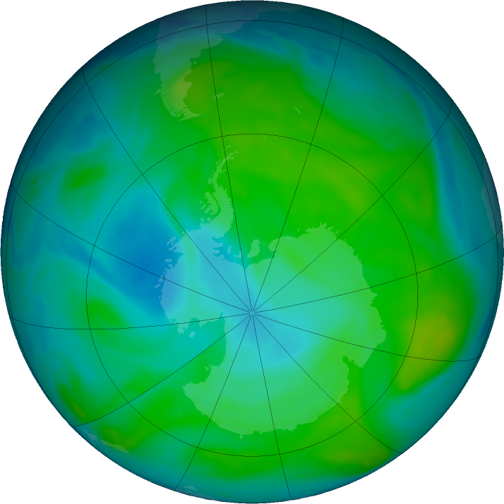Antarctic ozone map for 04 January 2017